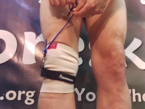 TLC Shocker gentle tension band clipped to TLC Cincher below the knee for daytime