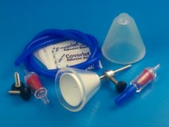 TLCA kit including TLC Hanger body, hollow steel tube, Collar, retaining cone, 1-way valve, retaining Cuff, 2-foot hose, and sample round adhesive bandages